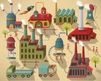 Fabriek - gebouwen en arbeiders vector illustratie