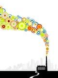 Fabriek met kleurrijke cirkels Stock Afbeelding