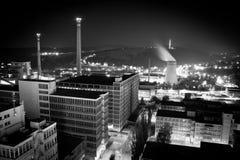 Fabriek nightscape stock afbeeldingen