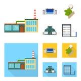 Fabriek, onderneming, gebouwen en ander Webpictogram in beeldverhaal, vlakke stijl Textiel, de industrie, stoffenpictogrammen in  Stock Afbeelding