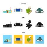 Fabriek, onderneming, gebouwen en ander Webpictogram in beeldverhaal, zwarte, vlakke stijl Textiel, de industrie, stoffenpictogra Royalty-vrije Stock Afbeelding