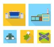 Fabriek, onderneming, gebouwen en ander Webpictogram in vlakke stijl Textiel, de industrie, stoffenpictogrammen in vastgestelde i Royalty-vrije Stock Fotografie