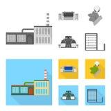 Fabriek, onderneming, gebouwen en ander Webpictogram in zwart-wit, vlakke stijl Textiel, de industrie, stoffenpictogrammen in ree vector illustratie