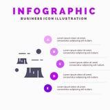 Fabriek, Schade, Ontbossing, Vernietiging, Milieu Stevig Pictogram Infographics 5 de Achtergrond van de Stappenpresentatie vector illustratie
