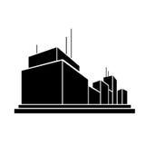 Fabrieks de bedrijfsbureaubouw silhouetpictogram Stock Fotografie