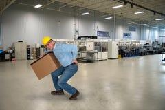 Fabrieksarbeider, Rugletsel, Veiligheid Stock Afbeeldingen