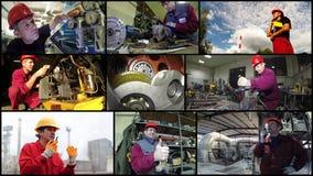 Fabrieksarbeidersconcept - Fotocollage Royalty-vrije Stock Afbeelding