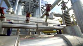 Fabrieksdistributie, en industriële verwerking van aardgas Vele pijpleidingen en kleppen stock footage