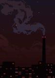 Fabriekspijp met rook en lichten Stock Afbeelding