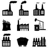 Fabrik, Atomkraftwerk und Energieikonen Lizenzfreie Stockfotos