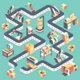 Fabrik automatiserad isometrisk illustration för produktionslinjevektorlägenhet stock illustrationer