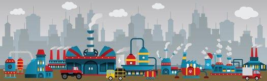Fabrik in der Stadt stock abbildung