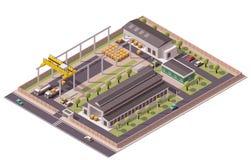Fabrik-Gebäudeikone des Vektors isometrische