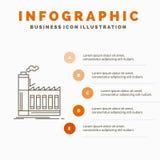 Fabrik, industriell, Industrie, Herstellung, Produktion Infographics-Schablone f?r Website und Darstellung Linie graue Ikone mit stock abbildung