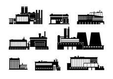 Fabrik, makt och svarta isolerade kontursymboler för produktionsanläggning Vektorsymboler för tung bransch vektor illustrationer