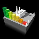 Fabrik med energivärderingsdiagrammet Arkivfoto