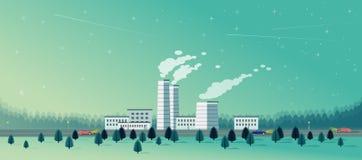 Fabrik mit gezierter Waldflacher Art lizenzfreie abbildung