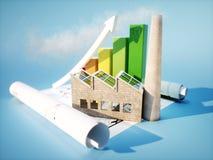 Fabrik mit Plan und Diagramm Stockbild