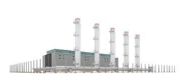 Fabrik mit Rohren über Weiß Lizenzfreies Stockbild