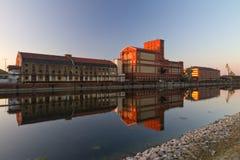 Fabrik på Rheinhafen, Karlsruhe, Tyskland Fotografering för Bildbyråer