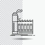 Fabrik som är industriell, bransch, tillverkning, produktionslinjesymbol på genomskinlig bakgrund Svart symbolsvektorillustration vektor illustrationer