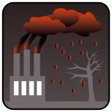 Fabrik som frambringar giftlig luftförorening och surt regn Fotografering för Bildbyråer