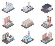 Fabrik- und Fabrikikonensatz des einfachen Vektors isometrischer Stockfotografie