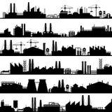 Fabrikbauschattenbild Industrielle Fabriken, Raffineriepanorama und Fertigungsgebäudeskylinevektor lizenzfreie abbildung