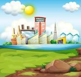 Fabriken nahe dem Fluss Stockfotos