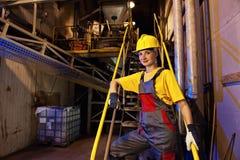 Fabrikfrauarbeitskraft stockbild