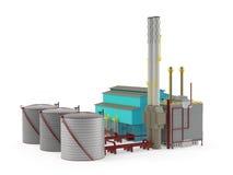 Fabrikgebäudemodell mit Öl-Speicherung Behälter Stockfotos