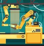 Fabriks- auto monteringsband med robotic armar Teknologi- och teknikvektorbegrepp royaltyfri illustrationer