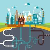 Fabriks- fabriks- eller raffinaderiväxt stock illustrationer
