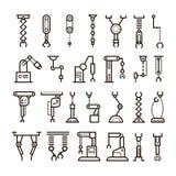 Fabriks- industriell robot, robotic armvektorlinje symboler vektor illustrationer