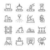Fabriks- linje symbolsuppsättning Inklusive symbolerna som process, produktion, fabrik, emballage och mer Royaltyfria Bilder