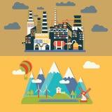 Fabriks- och bylandskap Vektor Illustrationer