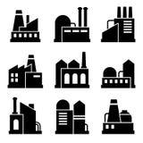 Fabriks- och maktindustribyggnadsymbolsuppsättning royaltyfri illustrationer