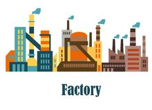Fabriks- och växtbyggnader i plan stil royaltyfri illustrationer