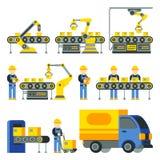 Fabriks- process med produktionfabrikslinjen vektorlägenhetsymboler vektor illustrationer