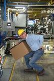 Fabriksarbetare, tillbaka skada, säkerhet royaltyfri bild
