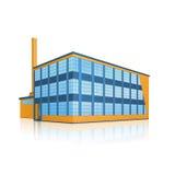 Fabriksbyggnad med kontor och produktionlättheter royaltyfri illustrationer