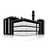 Fabriksbyggnad med kontor och produktionlättheter stock illustrationer