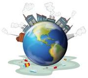 Fabriksbyggnader och förorening på jord royaltyfri illustrationer