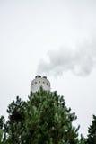 Fabrikschornstein mit Rauche mit Baum in der Front stockbilder