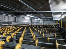 fabriksexponeringsglasrullar Fotografering för Bildbyråer