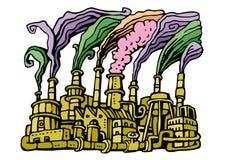fabriksförorening stock illustrationer