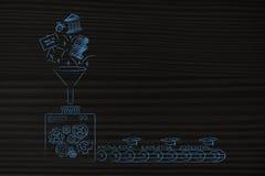 Fabriksmaskin som bearbetar blandade bildande objekt in i knowledg arkivbild
