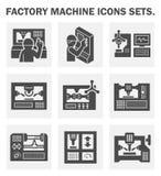 Fabriksmaskinsymbol vektor illustrationer