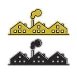 Fabrikssymbol med att röka lampglaset royaltyfri illustrationer