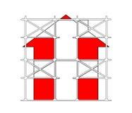 Fabrikstillverkat delarna till material till byggnadsställning Arkivfoto